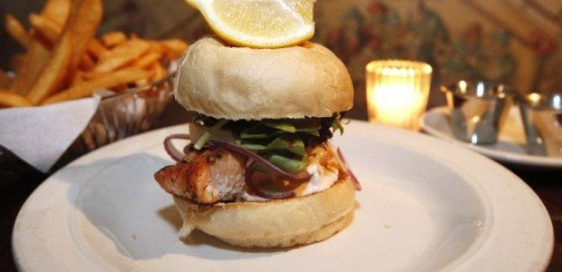 Corral Room, salmon sandwich, fries