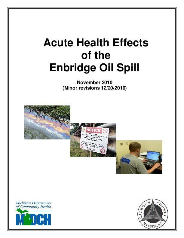 Michigan 2010 Acute Health Affects of Enbridge Oil Spill report