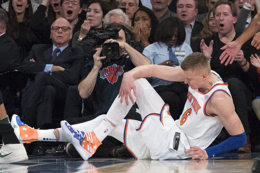 Kristaps Porzingis ACL tear, AP photo