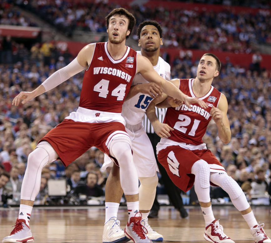 Frank Kaminsky, Josh Gasser, Jahlil Okafor, 2015 NCAA title game, State Journal photo