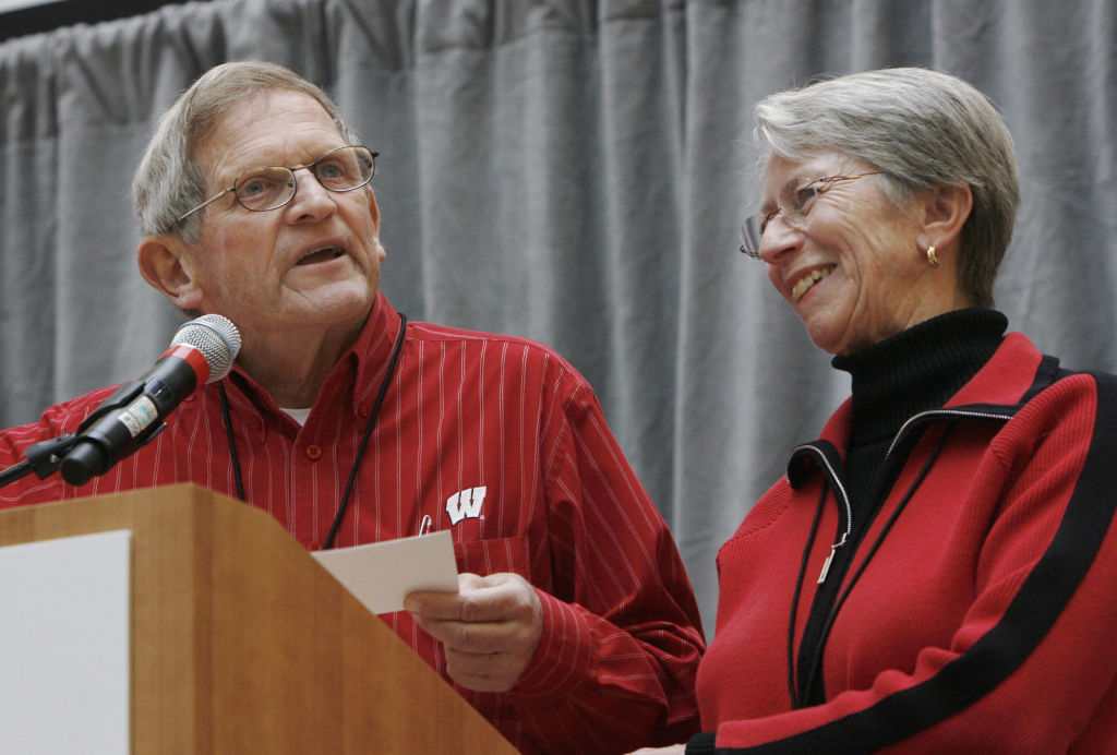John and Tashia Morgridge at podium