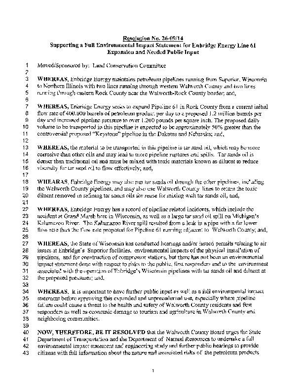 Walworth County 2014 resolution on Enbridge pipeline