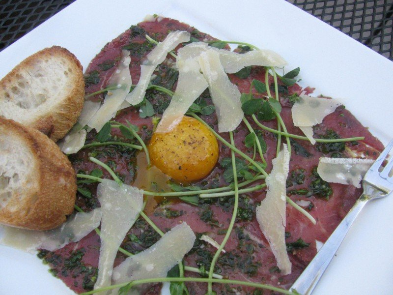 A Pig in a Fur Coat, Lamb carpaccio with duck egg