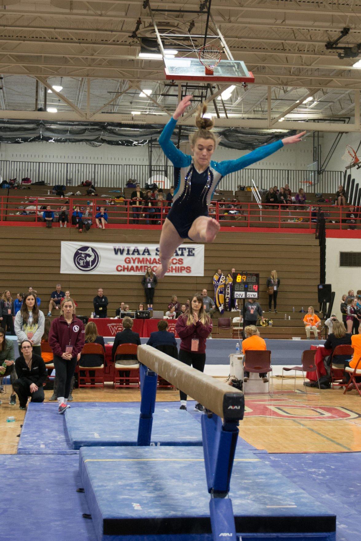 WIAA state gymnastics: Middleton's Madeline Pflasterer-Jennerjohn competes on beam