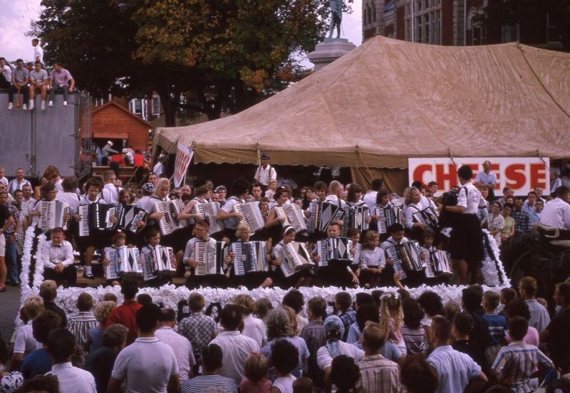 Accordion students in the 1965 Cheese Days parade in Monroe