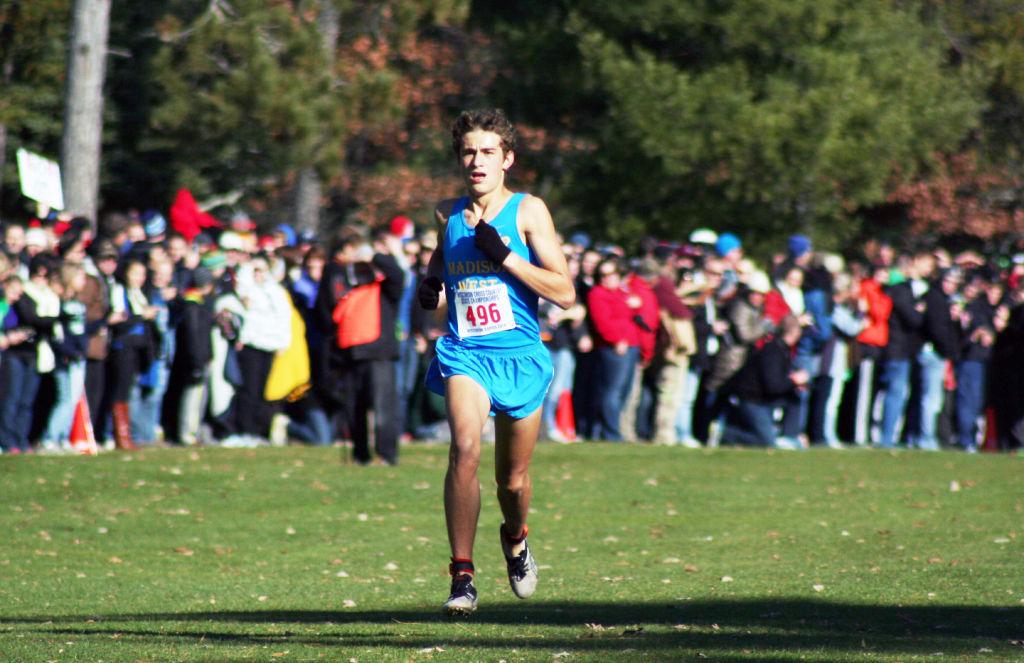 WIAA cross country photo: Madison West's Olin Hacker buzzes toward the finish line