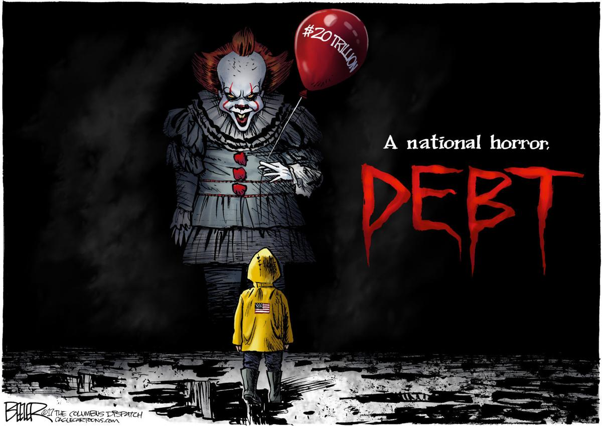 Helping Hands Of America >> Hit horror movie 'Debt' scares America, in Nate Beeler's latest cartoon | Opinion | Cartoon ...