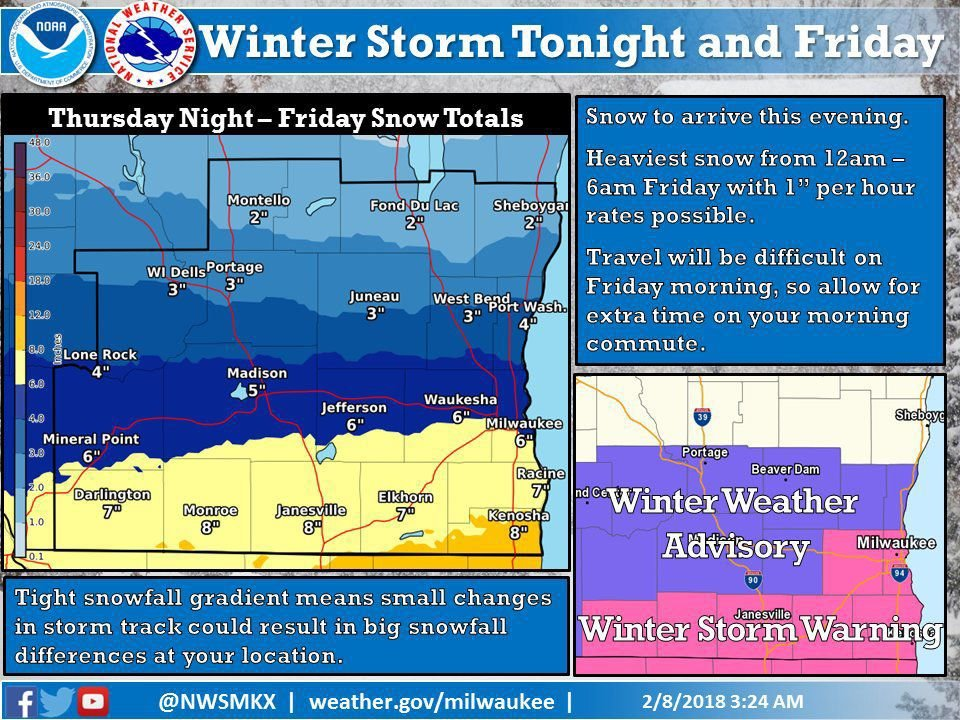 National Weather Service expected snow totals, 2-8-18