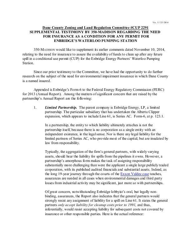 Madison 350 testimony on Enbridge spill insurance