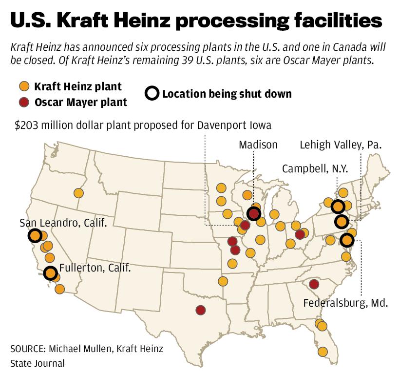 U.S. Kraft Heinz procesing facilities