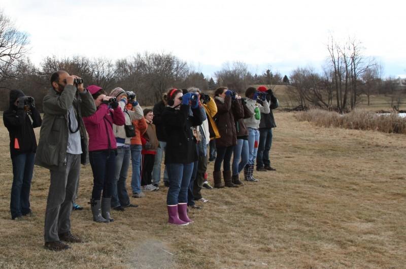 Students watch birds