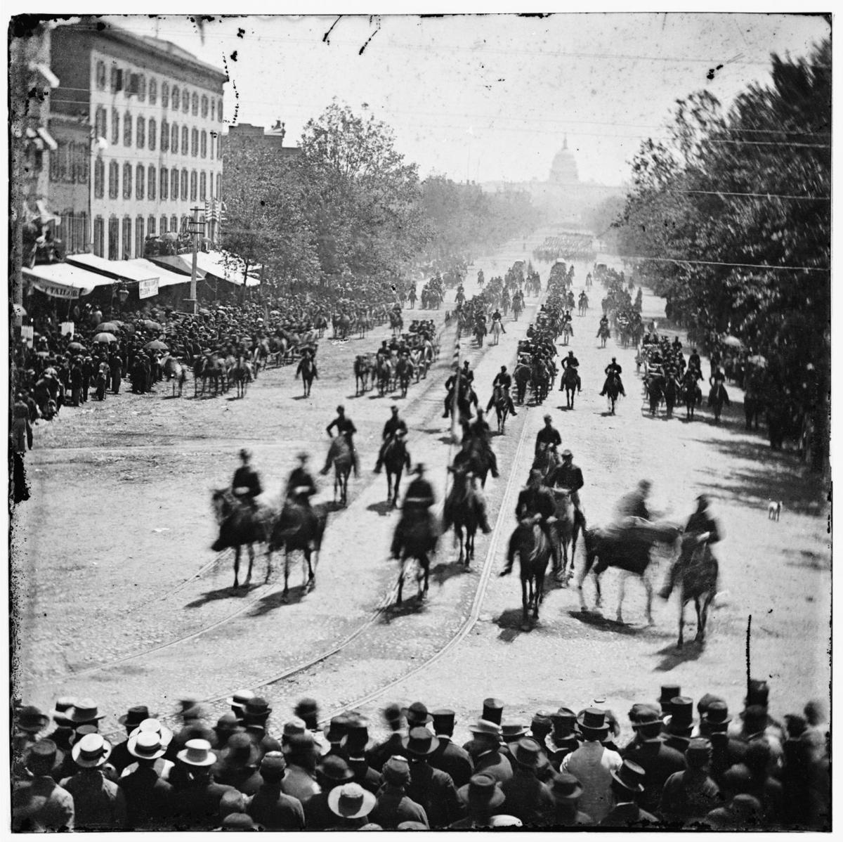 Civil War veterans parade in Washington, D.C., in 1865