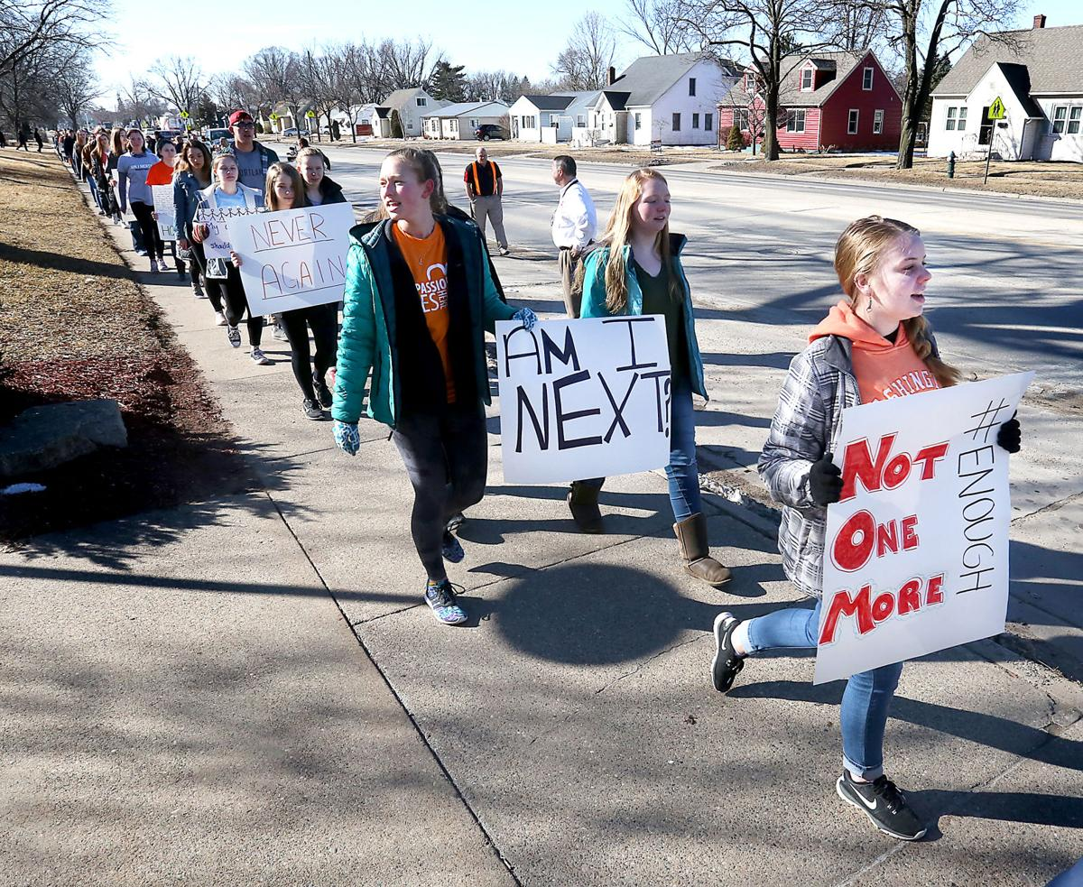 Hundreds' of High Schoolers at La Crosse Central Participate in this walkout on 3-14-18