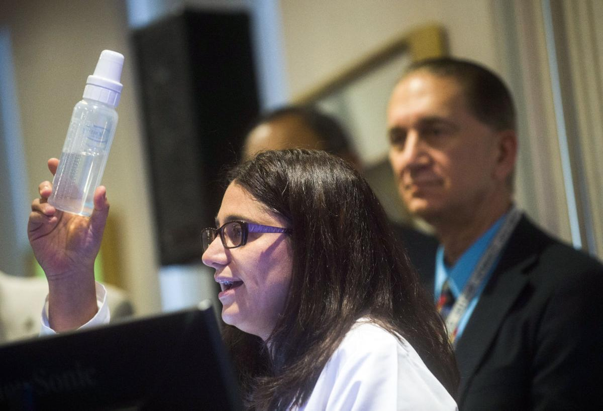 Dr. Mona Hanna-Attisha with water bottle