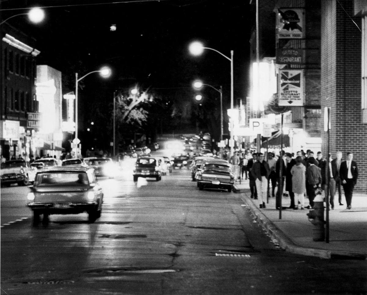 Pedestrian traffic along State Street, 1965