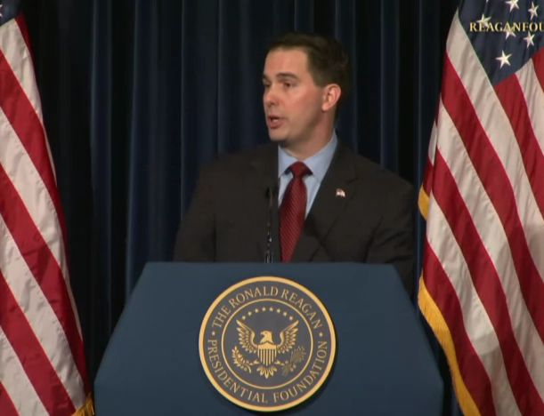 Walker screenshot from youtube: A Reagan Forum with Scott Walker