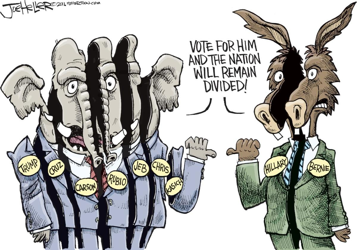 the elephants and donkeys are divided opinion cartoon