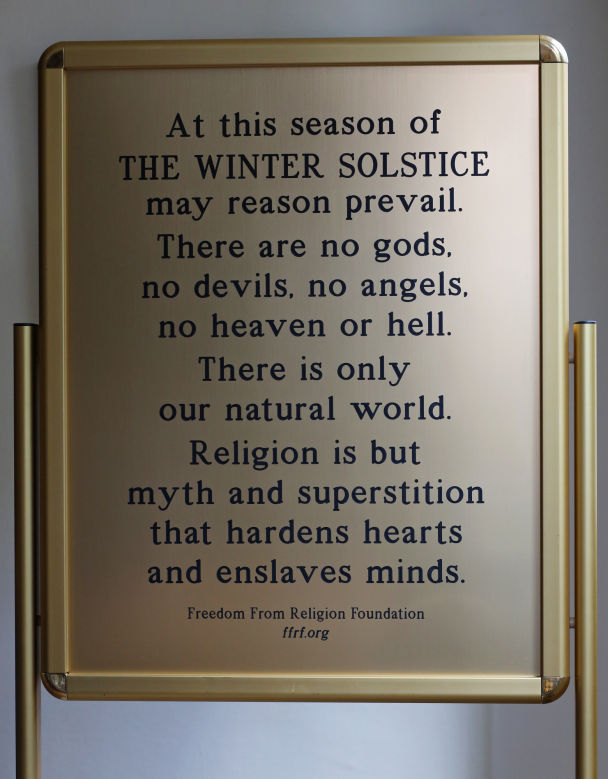 100 Objects: Freedom From Religion sign