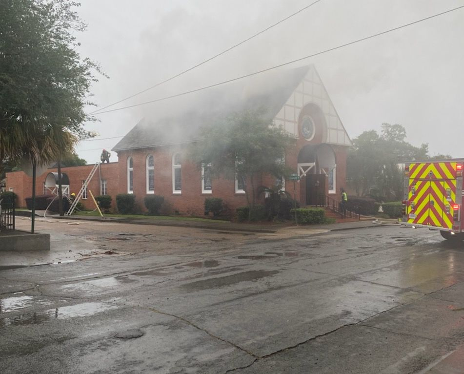 Synagogue on fire