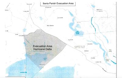 Iberia Parish mandatory evacuation area
