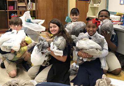 Students collect bags for Solomon House