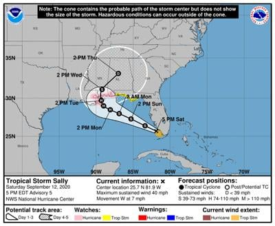 Sally strengthens into storm, forecast to be hurricane before landing in Southeast Louisiana Monday or Tuesday