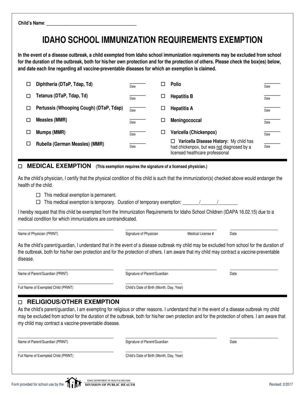 sports physical form idaho  Immunization exemption form | | idahopress.com