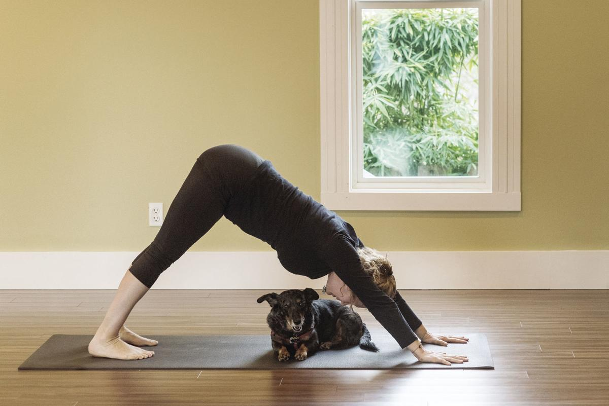 Annie Taylor demonstrates the down dog pose with her dog, Tula