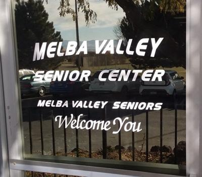 Melba Valley Senior Center window sign