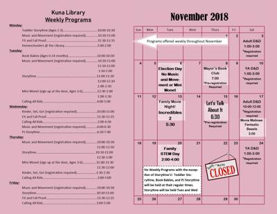 Kuna Library November calendar