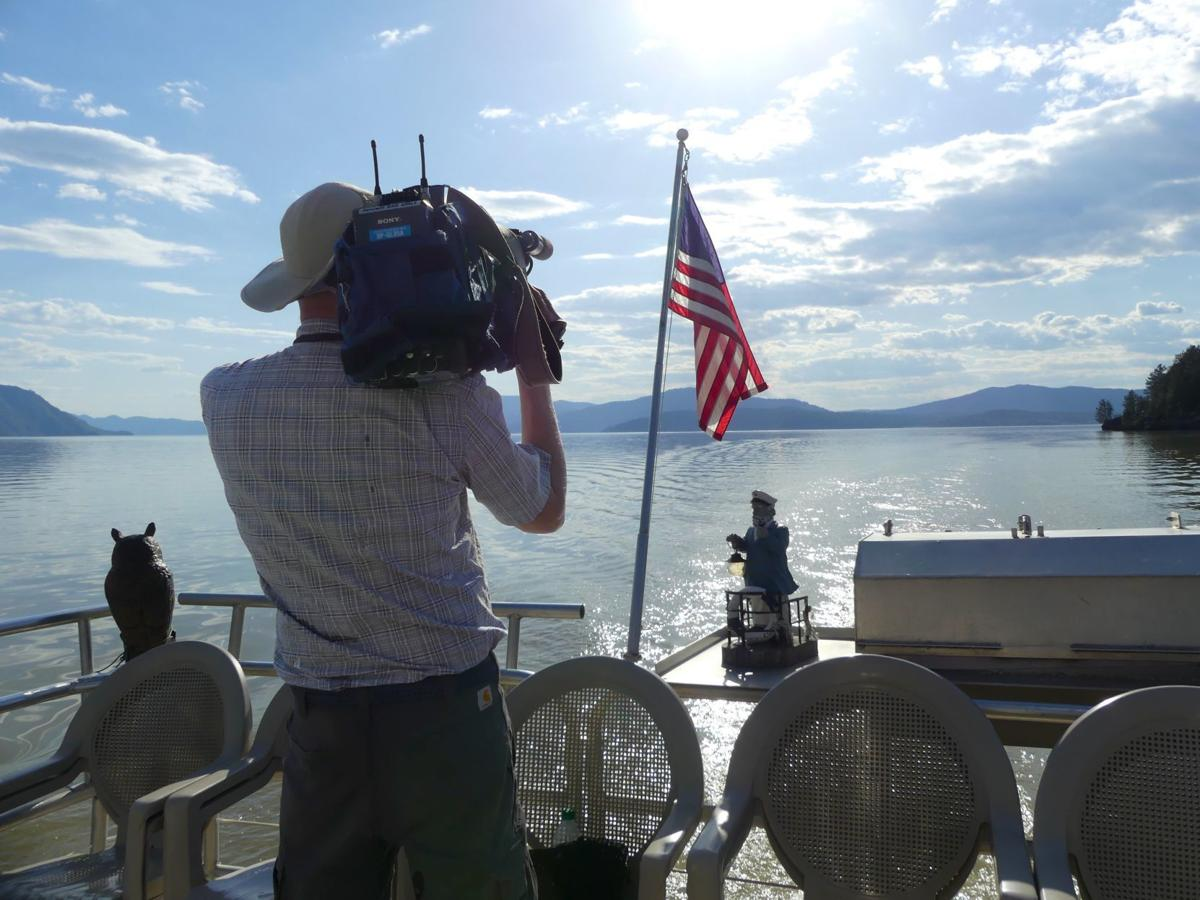 Pend Orielle Shooting video on the Shawnodese, a tour boat. Photo by Bruce R.JPG