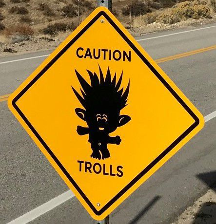 Trolls sign close-up