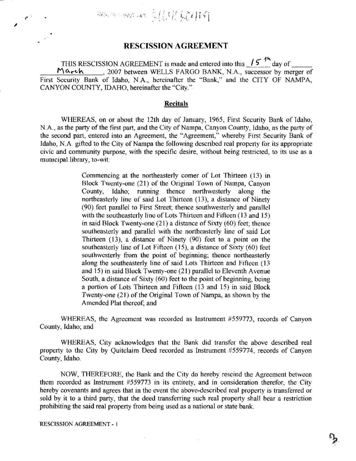 Old nampa library deed agreement idahopress download pdf old nampa library deed agreement platinumwayz
