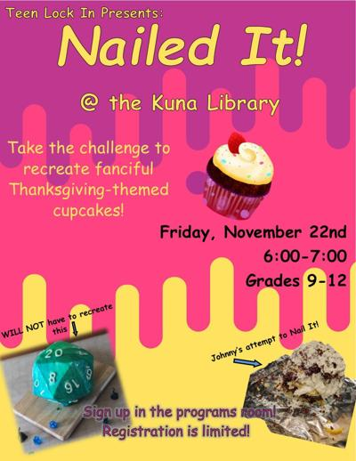 Nailed It! flyer for Kuna Library