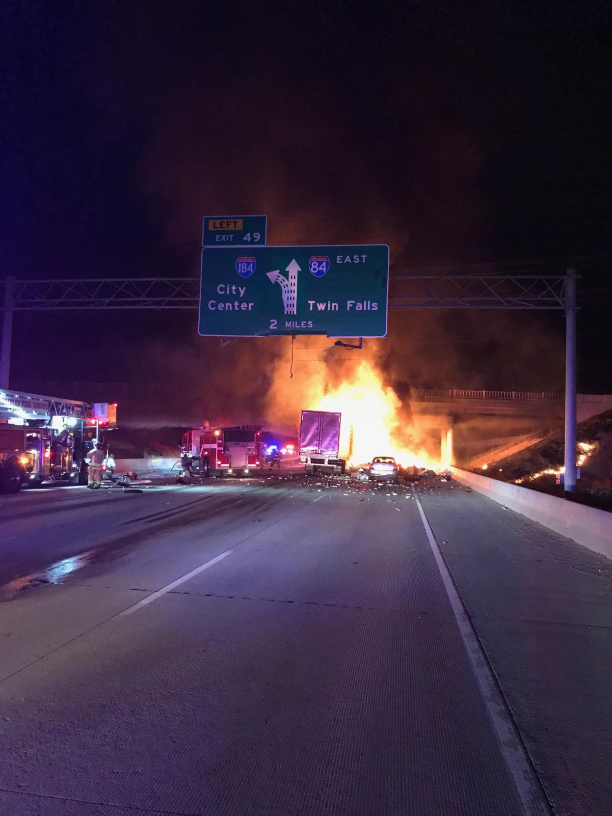 Cloverdale Overpass closed due to damage from fiery I-84 crash | Idaho Press