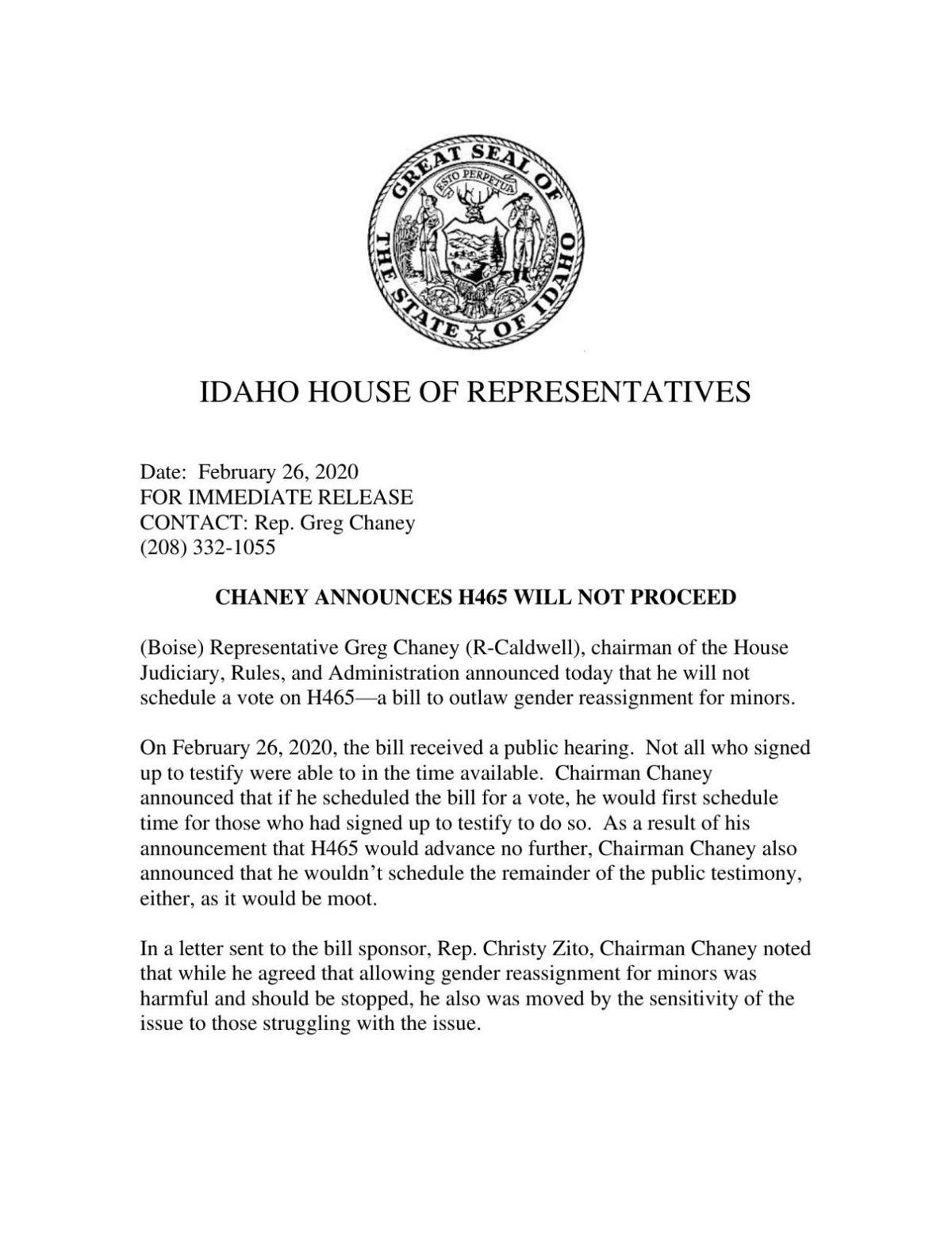 Chaney press release
