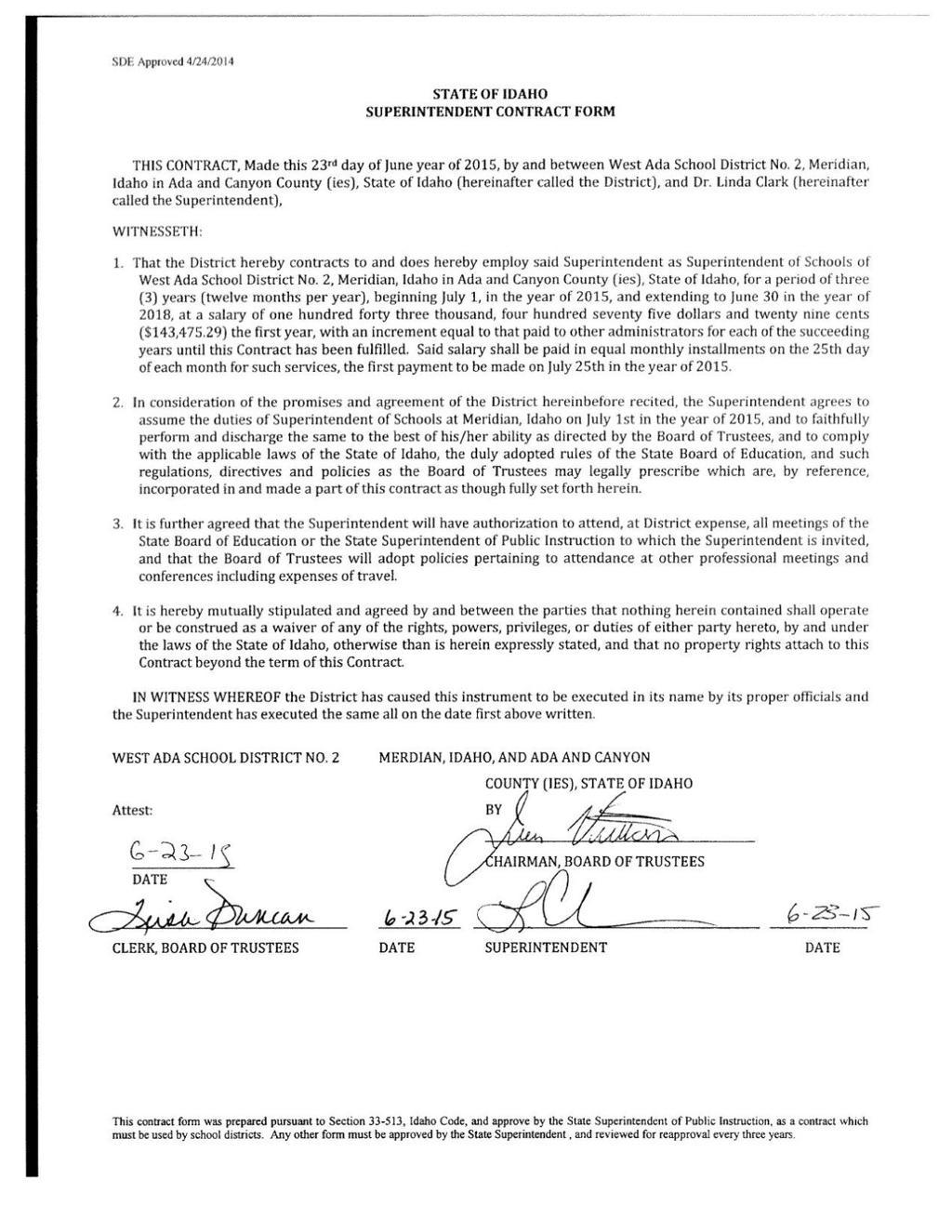West Ada Trustees Terminate Clark S Contract On Grounds Of