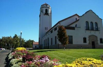 Boise Depot with flowers, city of Boise photo
