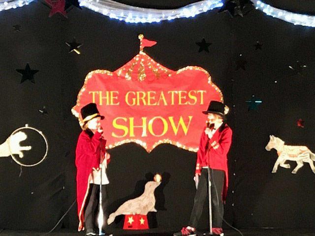 Anna Gambill and Reagan Winn host the Reed talent show