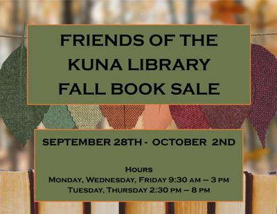Fall book sale 2020 at Kuna Library