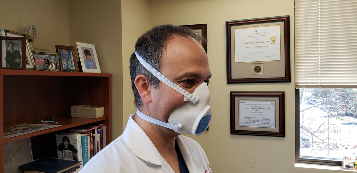 Dr. Ilyas Colombowala wearing his 3D mask
