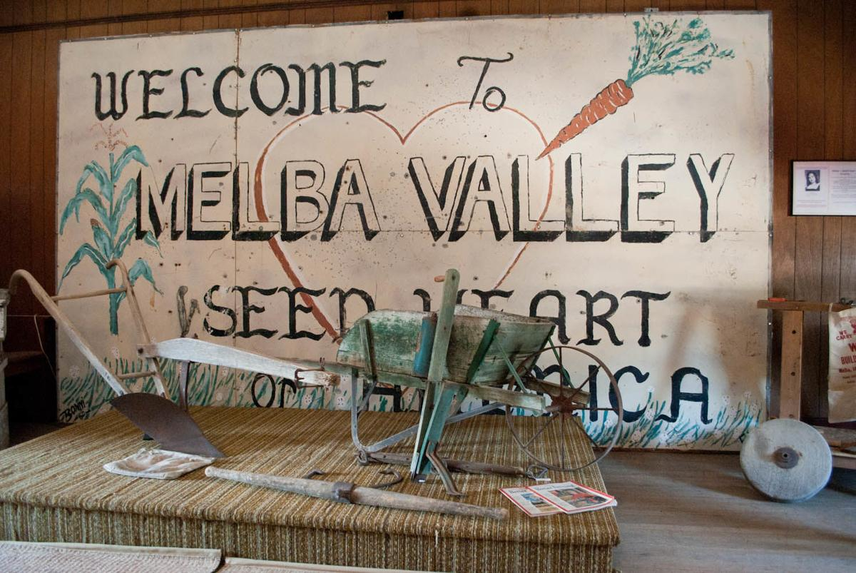 melba This sign is the original Melba Valley Seed of Heart of America sign posted at the top of a hill, on Southside Road, welcoming people to Melba, .jpg