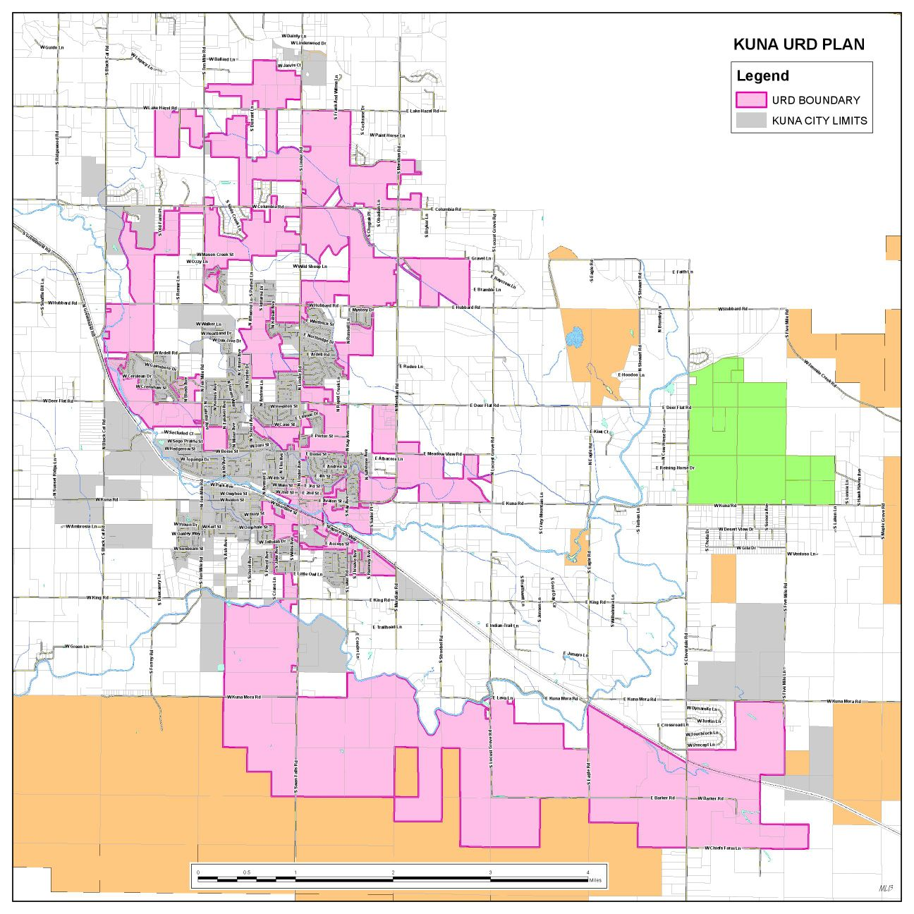 Map of Kuna city limits and urban renewal district plan
