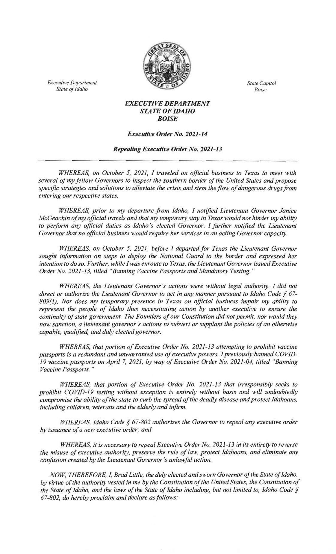 Gov. Brad Little's Executive Order 2021-14