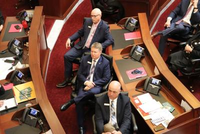 Senators watch State of State message on screens