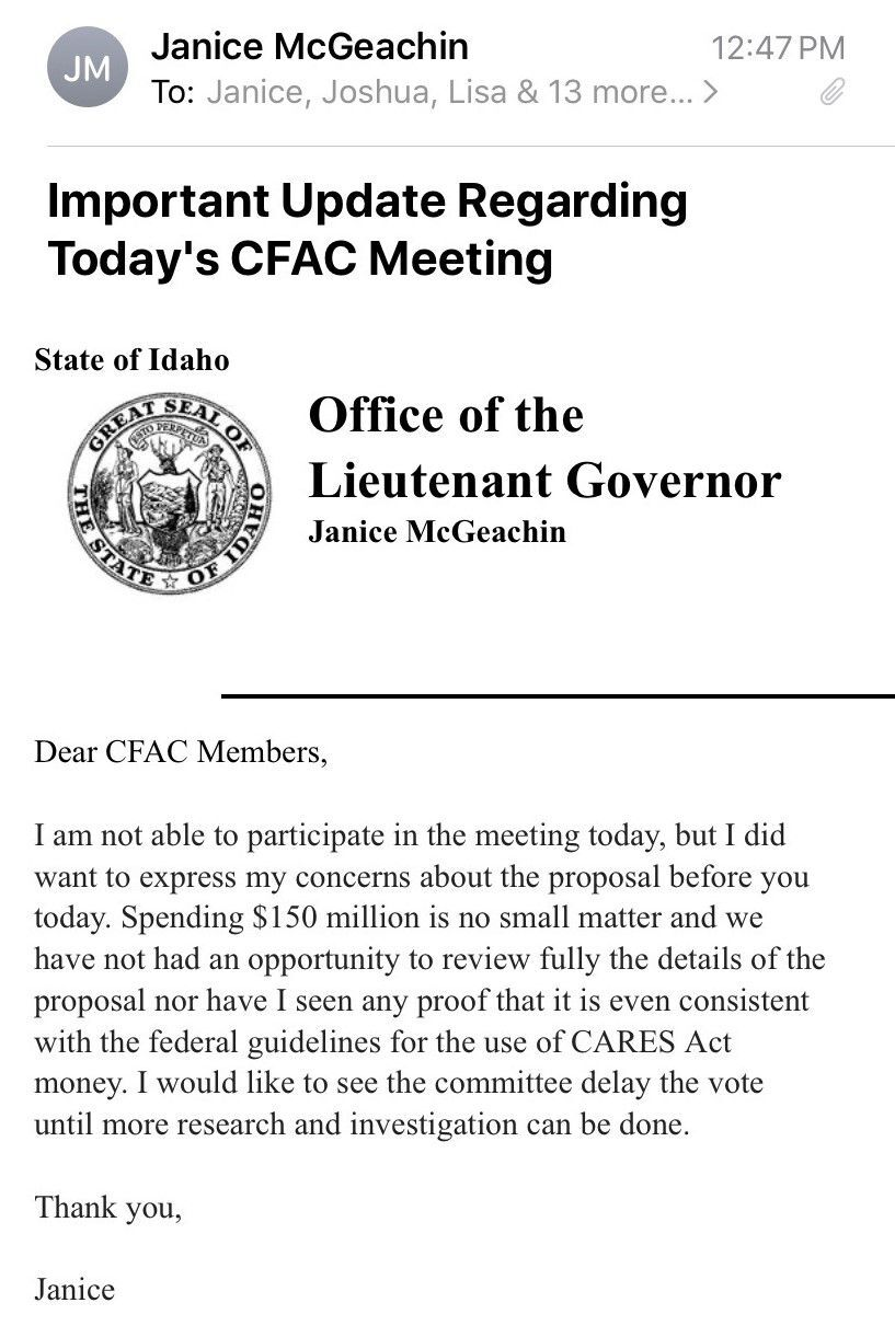 Email from Lt. Gov. Janice McGeachin to CFAC