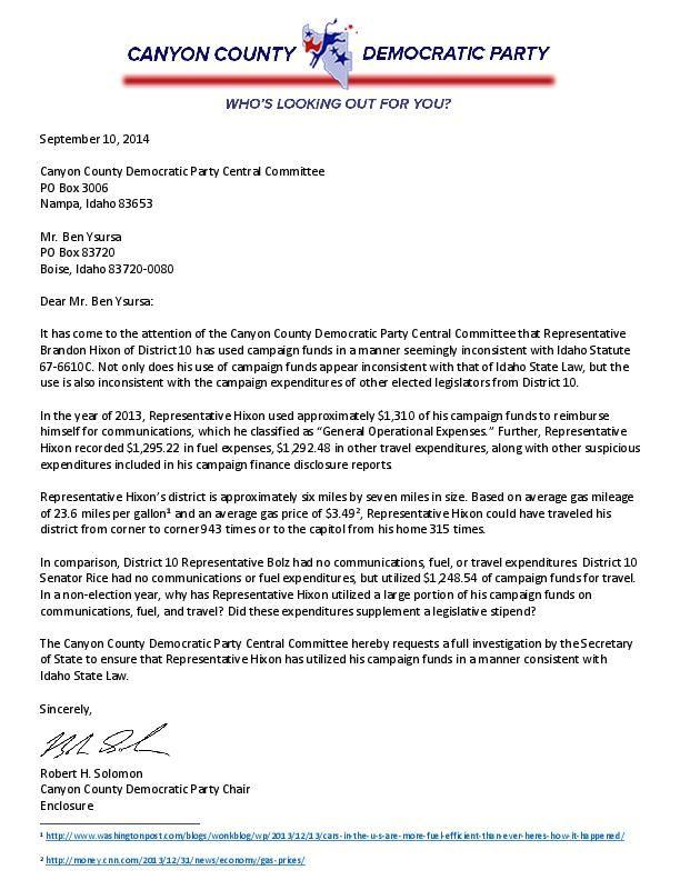 hixon campaign funds letter