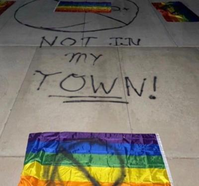 Cropped homophobic vandalism at C of I