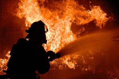 House fire firefighters stock image file photo