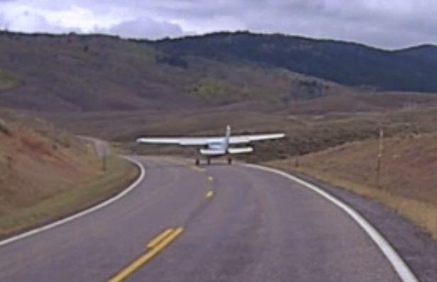 Plane lands on Highway 34